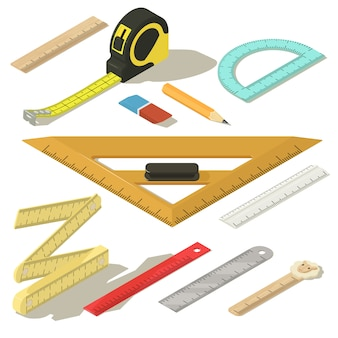 Ruler measure pencil icons set. isometric illustration of 11 ruler measure pencil vector icons for web