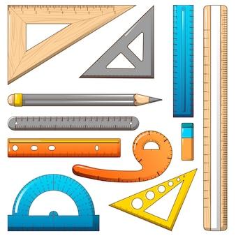 Ruler measure pencil icons set