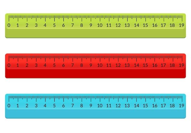 통치자 학교 평면 센티미터. 스케일 인치 규칙 밀리미터 플라스틱 격리 된 그림입니다.