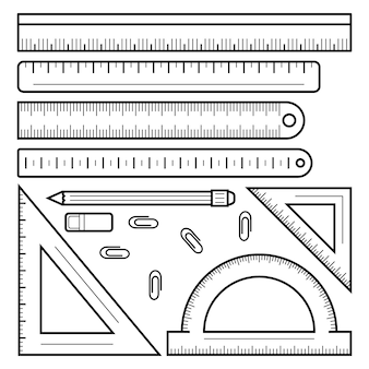 Ruler tape icon set. outline set of ruler tape vector icons