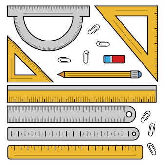 Ruler tape icon set, outline style