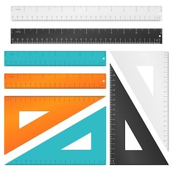 인치, 센티미터 및 밀리미터 비늘이 설정된 눈금자 및 삼각형