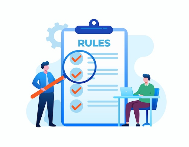 Rules checklist concept flat vector illustration