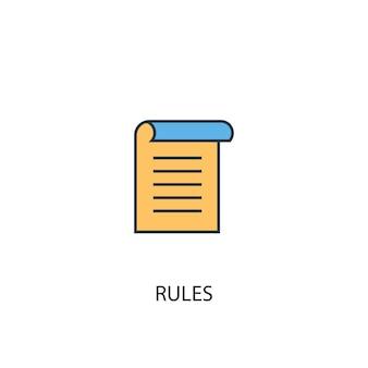 Концепция правил 2 цветной значок линии. простой желтый и синий элемент иллюстрации. правила концепция наброски символ дизайн