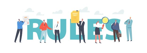 Rules concept. characters read business laws, regulations and standards, ethical practices, terms of firm. corporate compliance rules, poster, banner or flyer. cartoon people vector illustration
