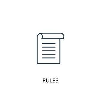 Значок линии концепции правил. простая иллюстрация элемента. правила концепция наброски символ дизайн. может использоваться для веб- и мобильных ui / ux