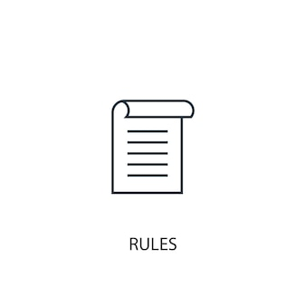 Rules concept line icon. simple element illustration. rules concept outline symbol design. can be used for web and mobile ui/ux