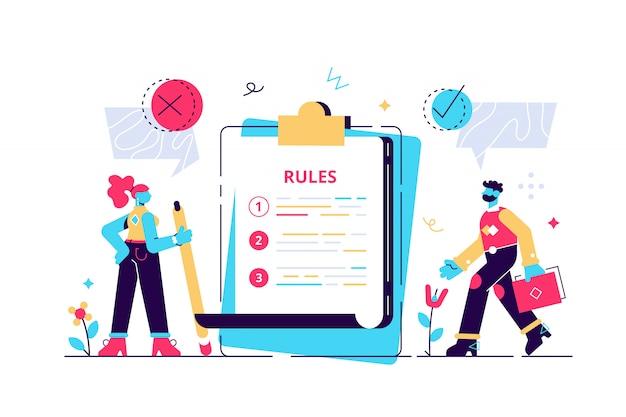 ルールの概念。規制チェックリストの人。法律情報を含む制限付きのグラフィックライティング。社会統制ガイドラインと会社の注文と制限の戦略。平らな小さなイラスト