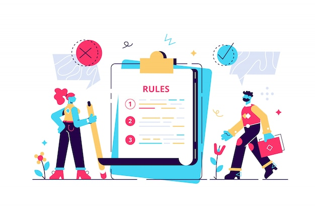 Rules concept. regulations checklist persons. restricted graphic writing with law information. society control guidelines and strategy for company order and restrictions. flat tiny  illustration