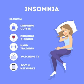 Rules of good healthy sleep at the night. list of reasons of insomnia. helpful brochure with guideline. recommendation for good slepping.   illustration