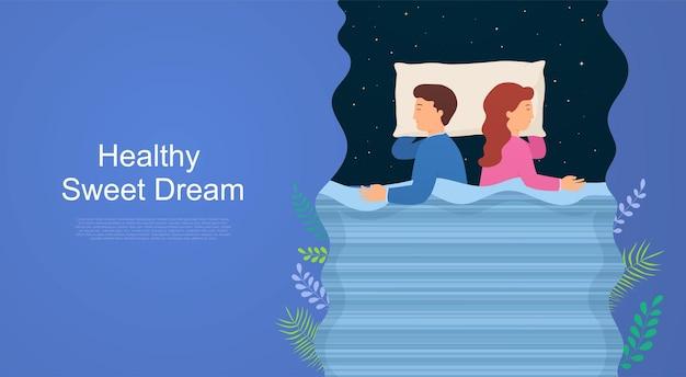 건강한 수면의 규칙과 불면증을 유발합니다. 침대에서 옆으로 자고 있는 남자. 좋은 수면을 위한 개념 및 권장 사항.