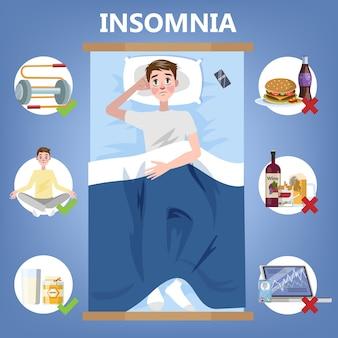 健康的な睡眠のルール。夜の良い睡眠のための就寝時のルーチン。枕の上に横たわる男。不眠症の人のためのパンフレット。分離フラットベクトルイラスト