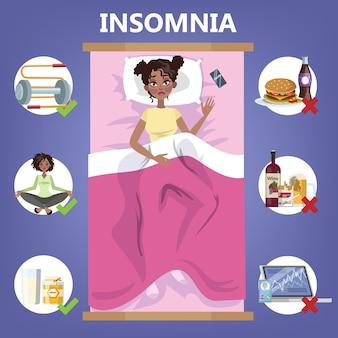 健康的な睡眠のルール。夜の良い睡眠のための就寝時のルーチン。枕の上に横たわる女性。不眠症の人のためのパンフレット。分離フラットベクトルイラスト