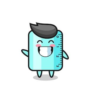 물결 손 제스처를 하는 눈금자 만화 캐릭터, 티셔츠, 스티커, 로고 요소를 위한 귀여운 스타일 디자인