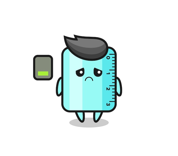 Ruller mascot character doing a tired gesture , cute style design for t shirt, sticker, logo element