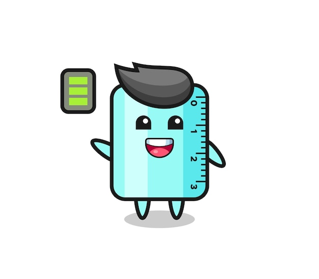 Ruller mascot character with energetic gesture , cute style design for t shirt, sticker, logo element