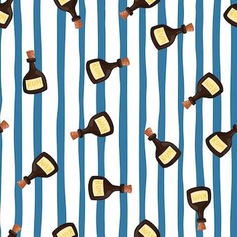 Rum bottle seamless pattern on blue stripe background. pirate drink wallpaper.