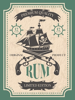 Rum. vintage label at pirate theme for bottle of rum, vintage retro label