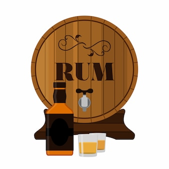 Rum wooden barrel with bottle and shots in flat style.