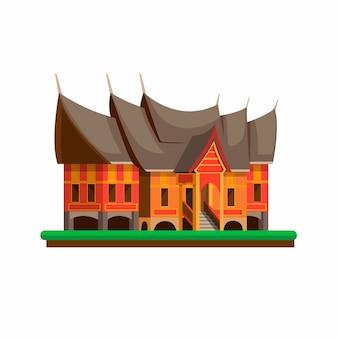 Rumah gadang은 minangkabau 사람들의 집으로 인도네시아 서부 수마트라의 전통 가옥입니다. 흰색 배경에 만화 평면 그림의 개념