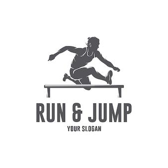 Шаблон логотипа «беги и прыгай»