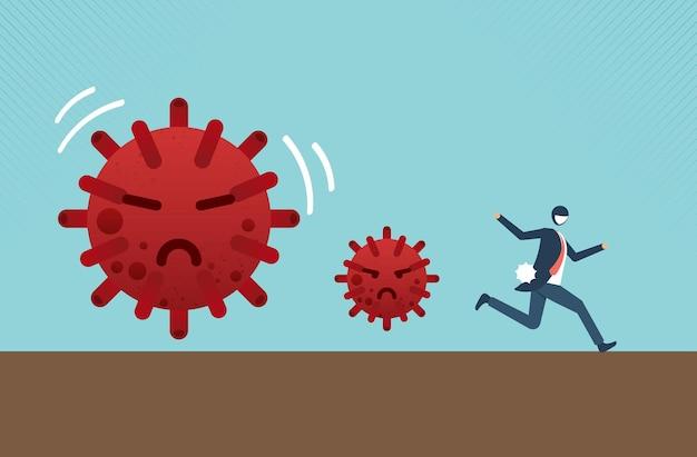 ウイルス危機の概念のビジネスマンのウイルス病の発生の概念のリスクまたは危険から逃げる