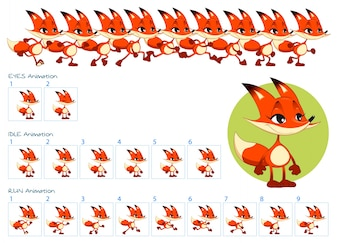 Run, blinking eyes and idle animations of cartoon fox character.