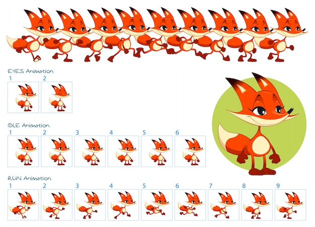 Run, blinking eyes and idle animations of cartoon fox character.