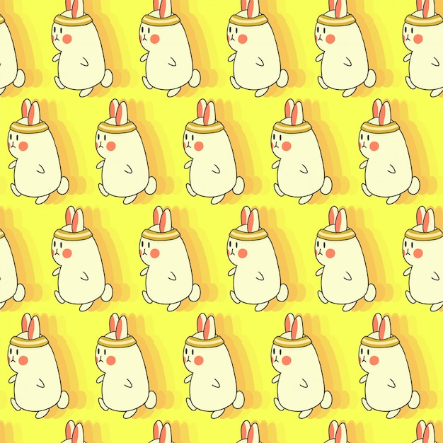 Run bunny seamless hand drawn pattern
