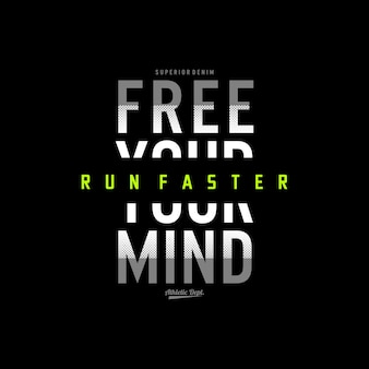 Run faster typography design accessories for t shirt premium vector premium vector premium vector