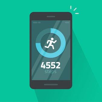 Run or fitness steps tracker app on mobile phone  isolated flat cartoon