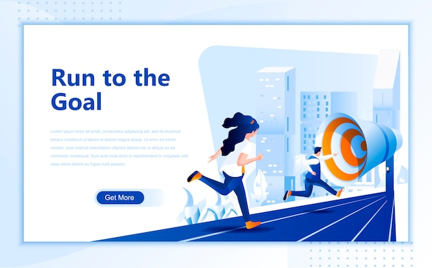 Run to the goal flat landing page template of homepage