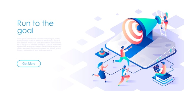 Run to goal isometric landing page template