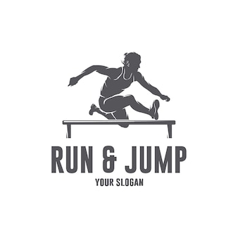 Run and jump logo template