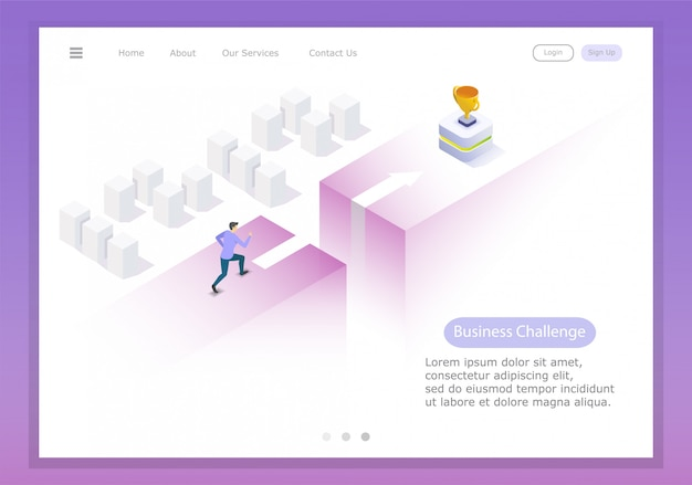 Run and leap to victory, test the courage and trials of a young businessman. isometric illustration