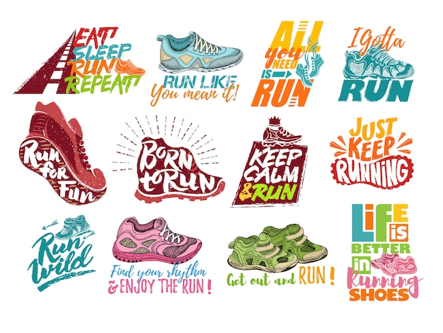 Run lettering on running shoes vector sport motivation phrases