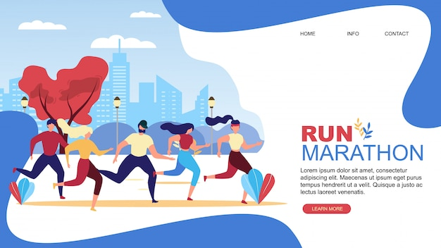 Run marathon cartoon people runner  landing page
