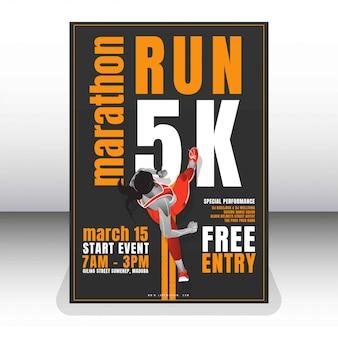 Run marathon poster template