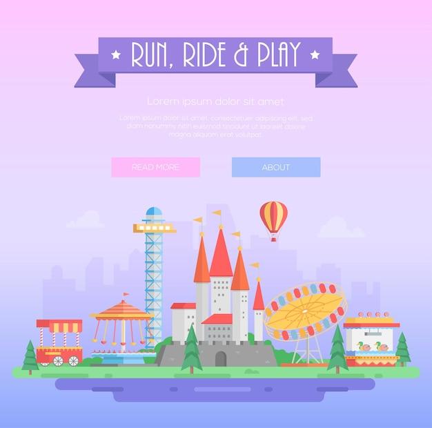 달리고, 타고, 놀고 - 라일락 도시 배경에서 텍스트를 넣을 수 있는 현대적인 벡터 삽화. 보라색 리본에 제목입니다. 명소, 나무, 서커스 파빌리온, 성. 놀이 공원 개념