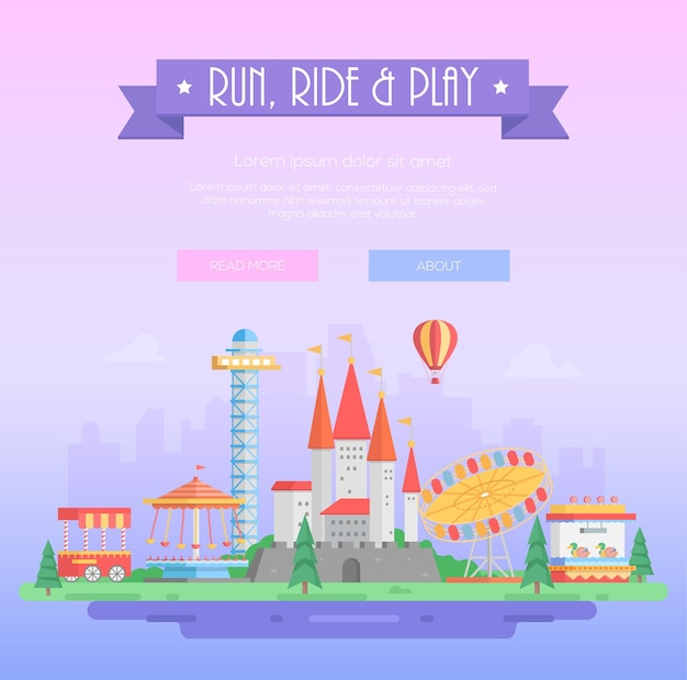 Run, ride and play - modern vector illustration on lilac urban background with place for text. title on purple ribbon. attractions, trees, circus pavilion, castle. amusement park concept