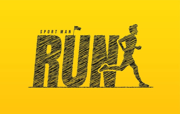 Run scribble text with runner background hand drawn run lettering concept motivational quote