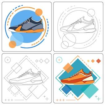 Run sneakers easy editable