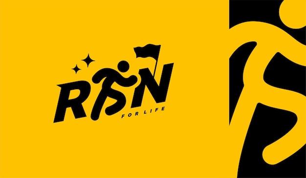 Run sport club logo design templates run lettering typography icon marathons logotype concept