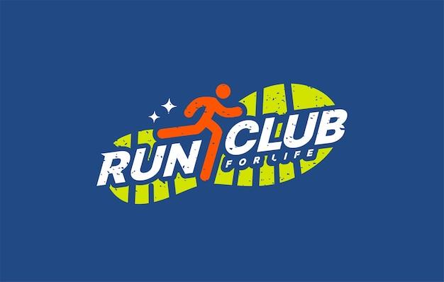 Run sport club logo design templates run lettering typography marathons logotype concept