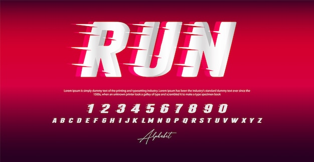 Run style font, alphabet and numbers,
