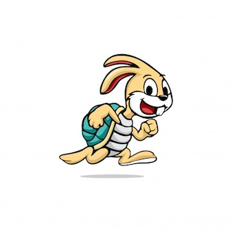 Run turtle rabbit caracter logo