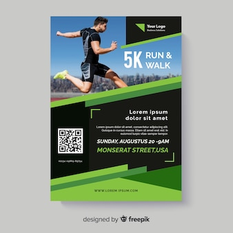 Run and walk sport flyer with photo