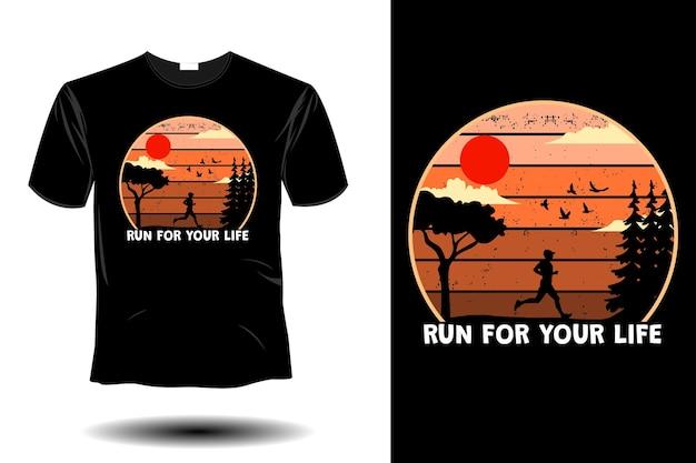 Run for your life mockup retro vintage design