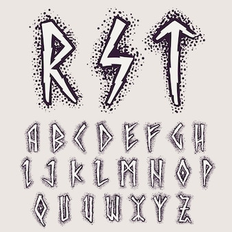 Rune alphabet on the dots background. nordic occult symbol for identity, package, book, diploma, etc.