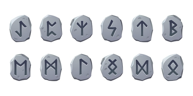 Rune stones with sacred glyphs for game design isolated on white background vector cartoon set of an...